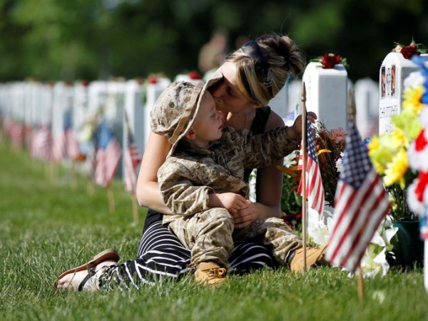 memorial day women and child